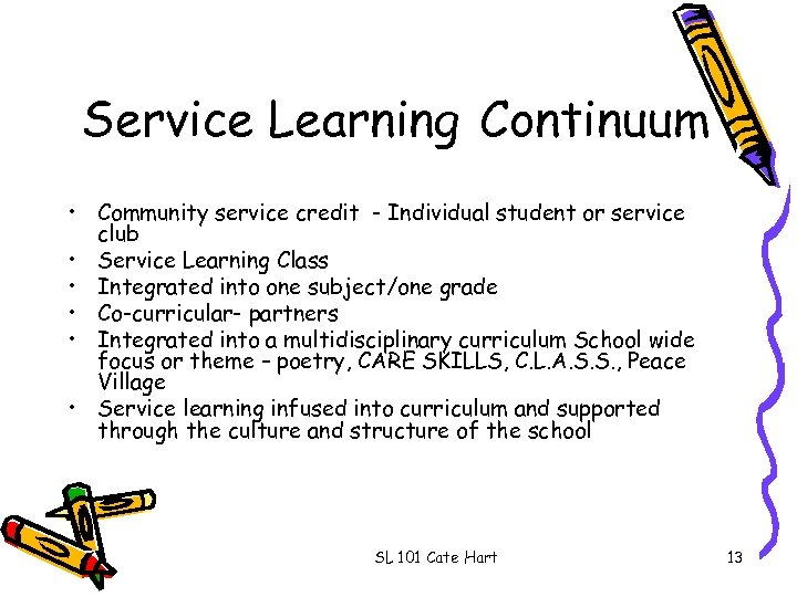 Service Learning Continuum • Community service credit - Individual student or service club •