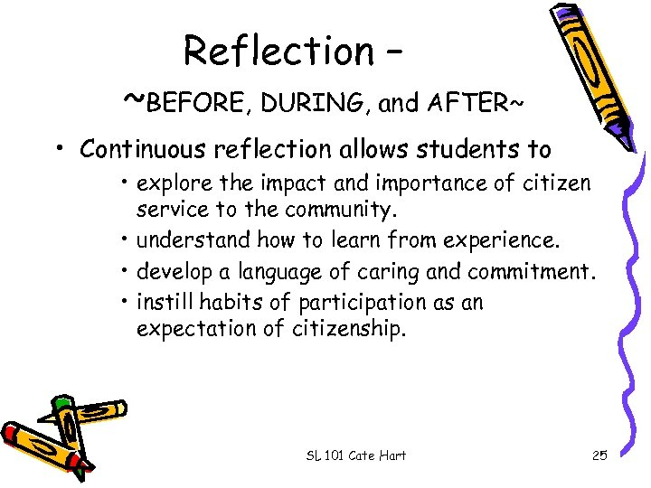 Reflection – ~BEFORE, DURING, and AFTER~ • Continuous reflection allows students to • explore
