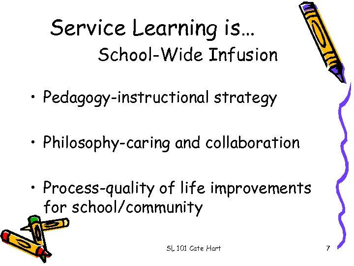 Service Learning is… School-Wide Infusion • Pedagogy-instructional strategy • Philosophy-caring and collaboration • Process-quality