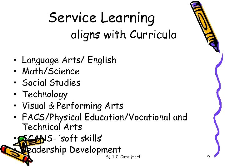 Service Learning aligns with Curricula • • • Language Arts/ English Math/Science Social Studies