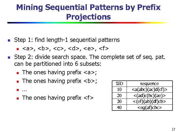 Mining Sequential Patterns by Prefix Projections n n Step 1: find length-1 sequential patterns