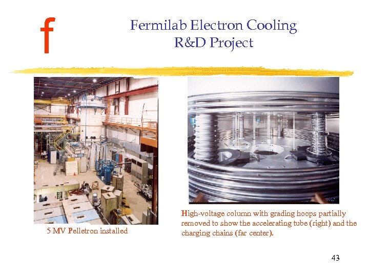 f 5 MV Pelletron installed Fermilab Electron Cooling R&D Project High-voltage column with grading