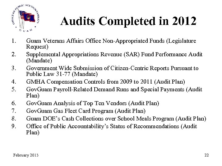Audits Completed in 2012 1. 2. 3. 4. 5. 6. 7. 8. 9. Guam