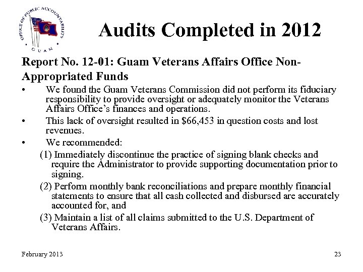 Audits Completed in 2012 Report No. 12 -01: Guam Veterans Affairs Office Non. Appropriated