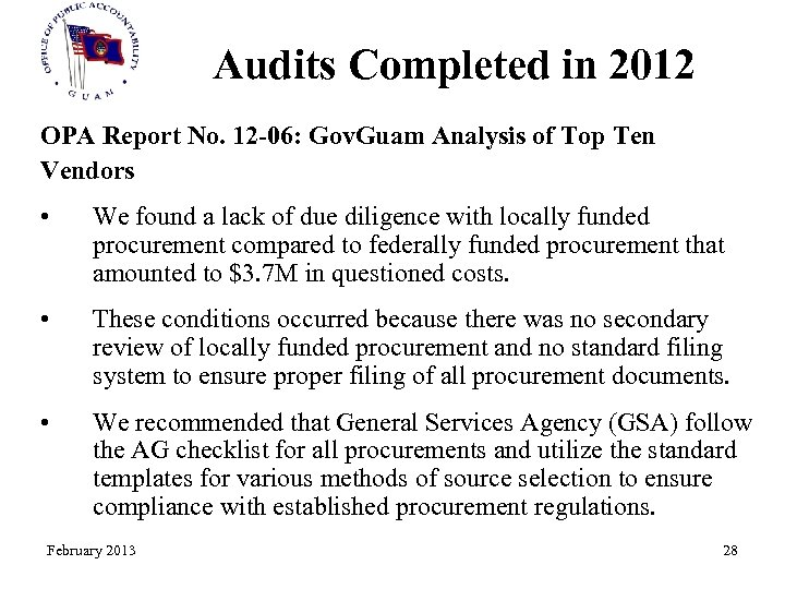 Audits Completed in 2012 OPA Report No. 12 -06: Gov. Guam Analysis of Top