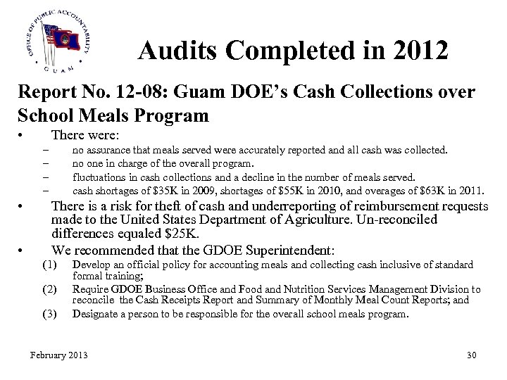 Audits Completed in 2012 Report No. 12 -08: Guam DOE's Cash Collections over School