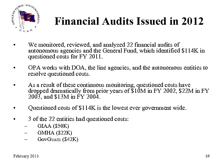 Financial Audits Issued in 2012 • We monitored, reviewed, and analyzed 22 financial audits