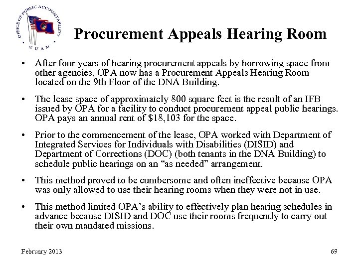Procurement Appeals Hearing Room • After four years of hearing procurement appeals by borrowing