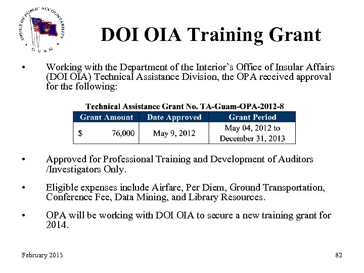 DOI OIA Training Grant • Working with the Department of the Interior's Office of