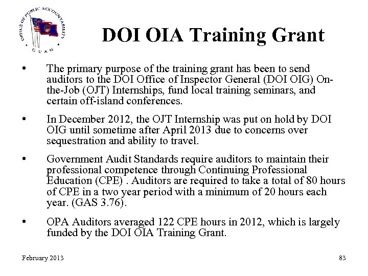 DOI OIA Training Grant • The primary purpose of the training grant has been