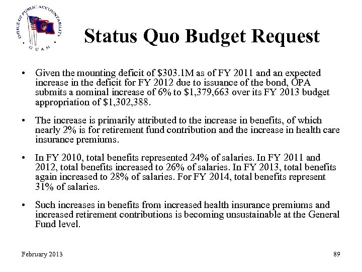 Status Quo Budget Request • Given the mounting deficit of $303. 1 M as