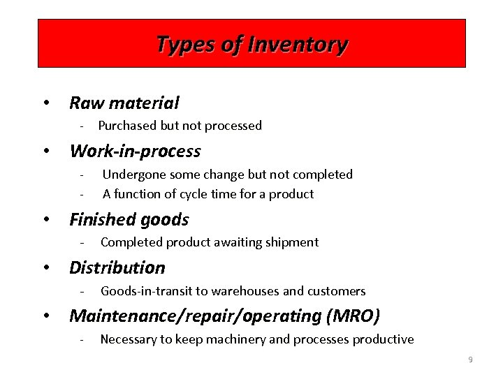 Types of Inventory • Raw material - Purchased but not processed • Work-in-process -
