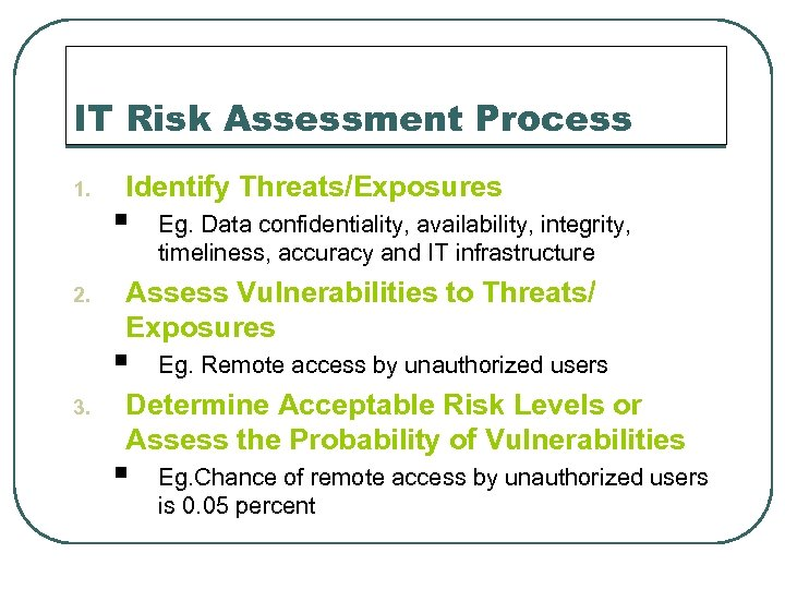 IT Risk Assessment Process 1. 2. Identify Threats/Exposures § Assess Vulnerabilities to Threats/ Exposures
