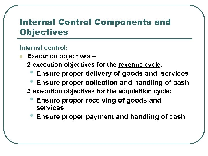 Internal Control Components and Objectives Internal control: l Execution objectives – 2 execution objectives