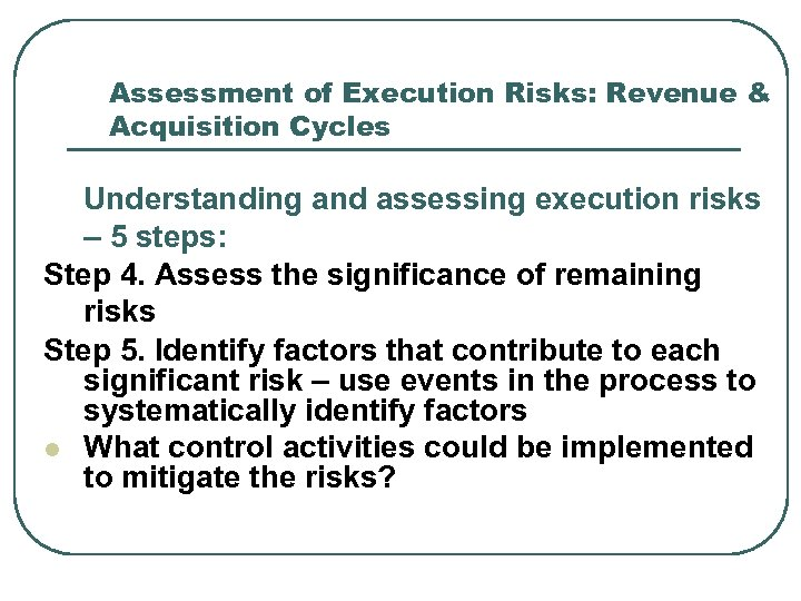 Assessment of Execution Risks: Revenue & Acquisition Cycles Understanding and assessing execution risks –