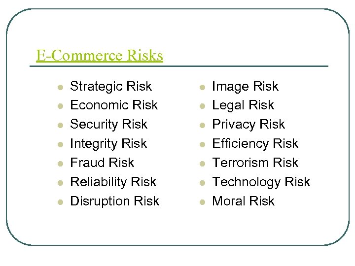 E-Commerce Risks l l l l Strategic Risk Economic Risk Security Risk Integrity Risk