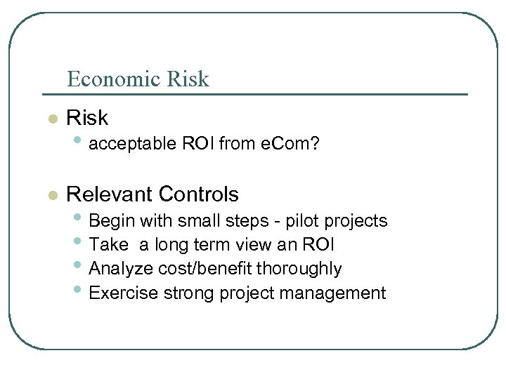 Economic Risk l Relevant Controls • acceptable ROI from e. Com? • Begin with