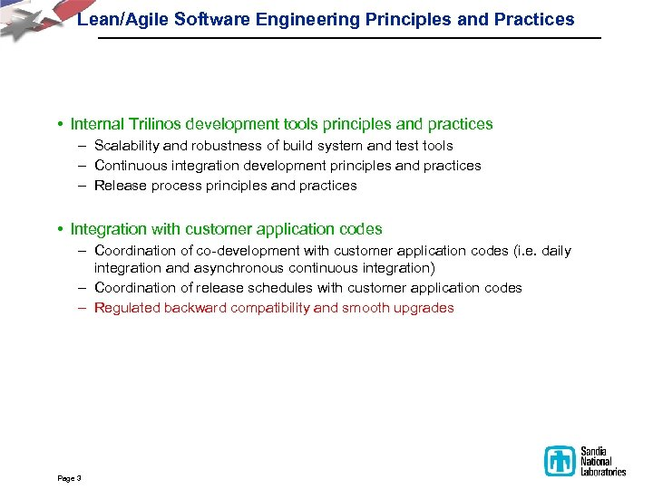 Lean/Agile Software Engineering Principles and Practices • Internal Trilinos development tools principles and practices