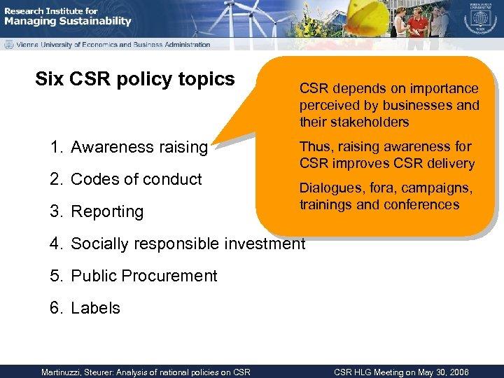 Six CSR policy topics 1. Awareness raising 2. Codes of conduct 3. Reporting CSR