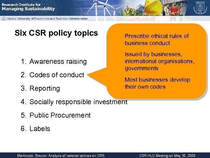 Six CSR policy topics 1. Awareness raising 2. Codes of conduct 3. Reporting Prescribe