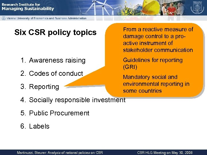 Six CSR policy topics 1. Awareness raising 2. Codes of conduct 3. Reporting From