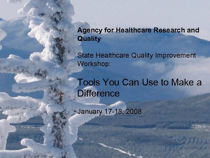 Agency for Healthcare Research and Quality State Healthcare Quality Improvement Workshop: Tools You Can