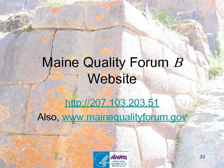 Maine Quality Forum Website http: //207. 103. 203. 51 Also, www. mainequalityforum. gov 23