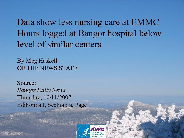 Data show less nursing care at EMMC Hours logged at Bangor hospital below level