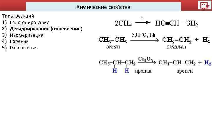 Химические свойства Типы реакций: 1) Галогенирование 2) Дегидрирование (отщепление) 3) Изомеризация 4) Горения 5)