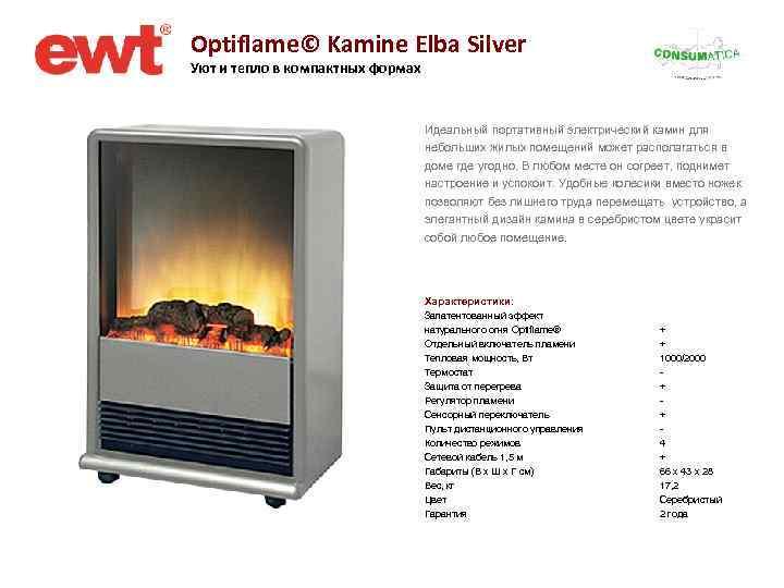 Optiflame© Kamine Elba Silver Уют и тепло в компактных формах Идеальный портативный электрический камин