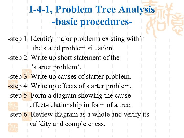 I-4 -1, Problem Tree Analysis -basic procedures-step 1 Identify major problems existing within the