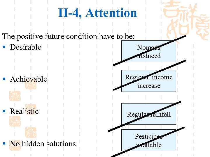 II-4, Attention The positive future condition have to be: § Desirable Nomads reduced §