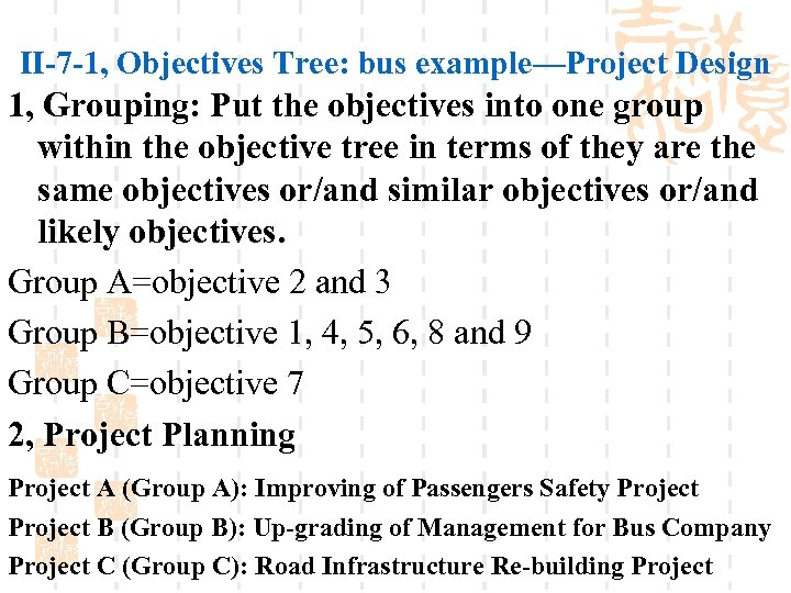 II-7 -1, Objectives Tree: bus example—Project Design 1, Grouping: Put the objectives into one