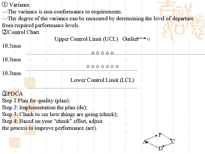 ① Variance ---The variance is non-conformance to requirements. ---The degree of the variance can