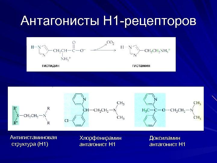 Антагонисты Н 1 -рецепторов Антигистаминовая структура (Н 1) Хлорфенирамин антагонист Н 1 Доксиламин антагонист