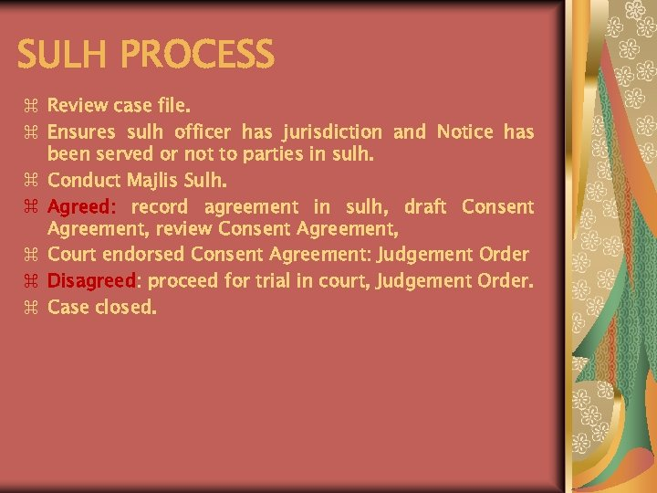 SULH PROCESS z Review case file. z Ensures sulh officer has jurisdiction and Notice