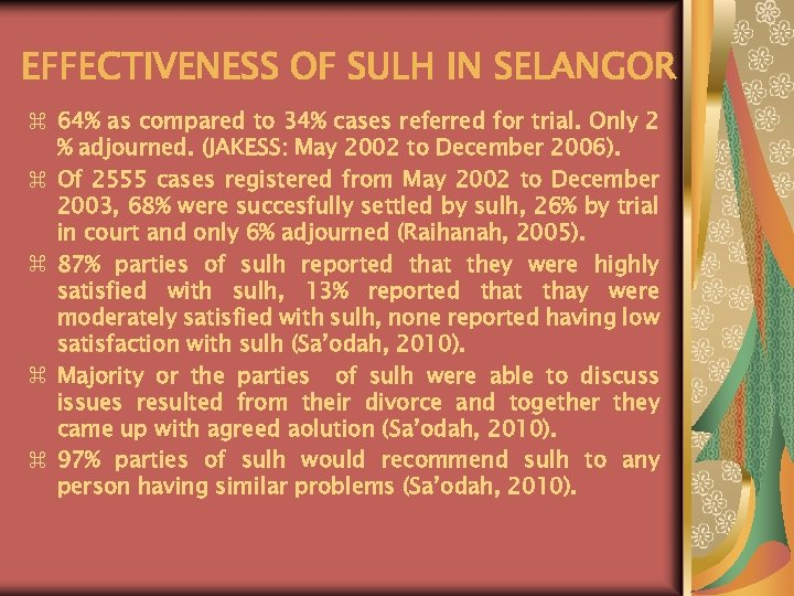 EFFECTIVENESS OF SULH IN SELANGOR z 64% as compared to 34% cases referred for