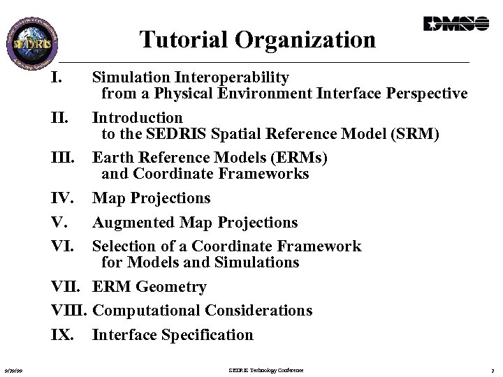 Tutorial Organization I. Simulation Interoperability from a Physical Environment Interface Perspective II. Introduction to