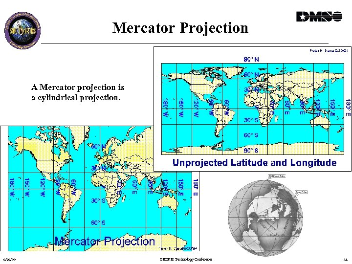Mercator Projection A Mercator projection is a cylindrical projection. 9/29/99 SEDRIS Technology Conference 34