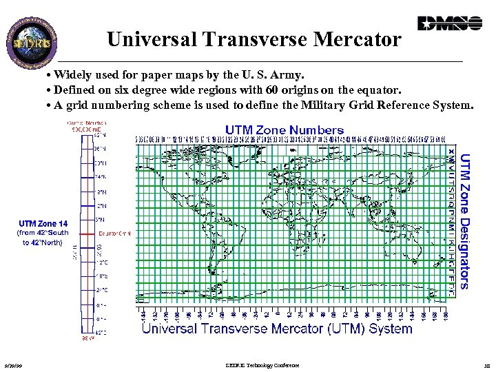 Universal Transverse Mercator • Widely used for paper maps by the U. S. Army.