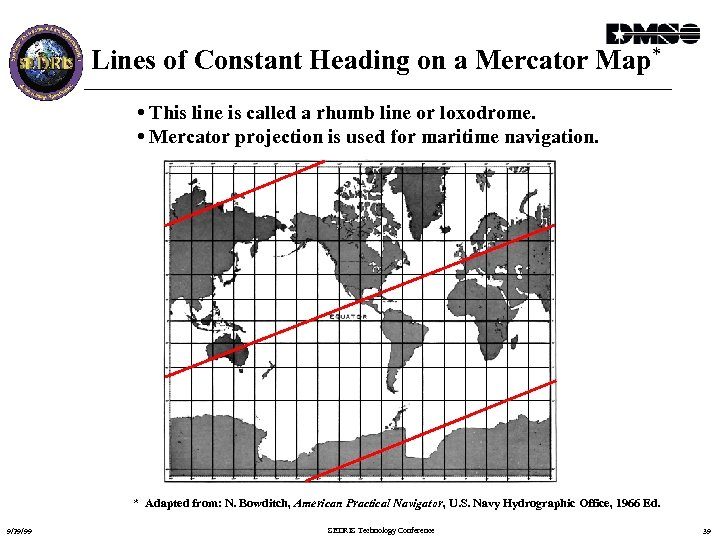 Lines of Constant Heading on a Mercator Map* • This line is called a
