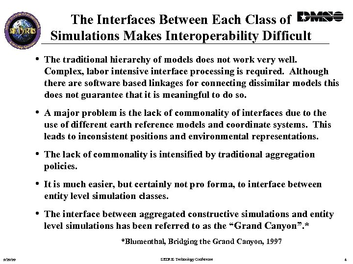 The Interfaces Between Each Class of Simulations Makes Interoperability Difficult • The traditional hierarchy