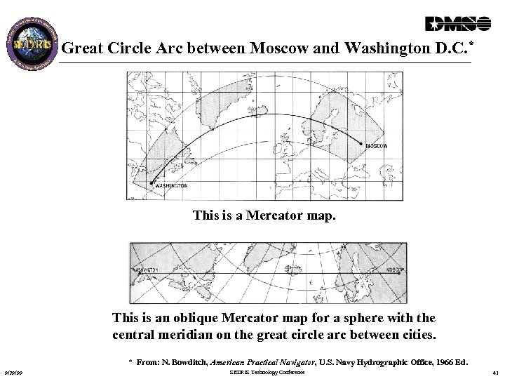Great Circle Arc between Moscow and Washington D. C. * This is a Mercator
