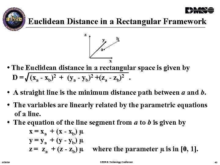 Euclidean Distance in a Rectangular Framework z b • y a • x •