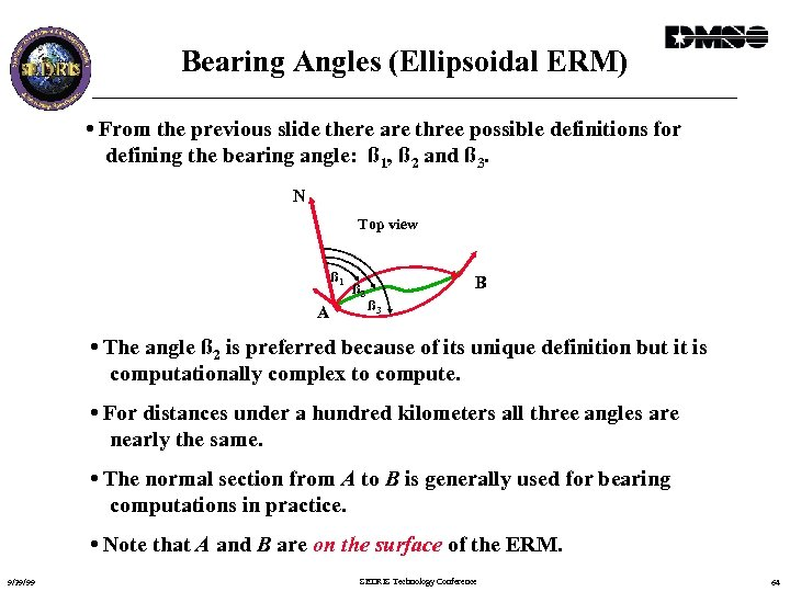 Bearing Angles (Ellipsoidal ERM) • From the previous slide there are three possible definitions