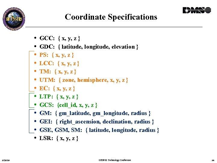 Coordinate Specifications • • • • 9/29/99 GCC: { x, y, z } GDC: