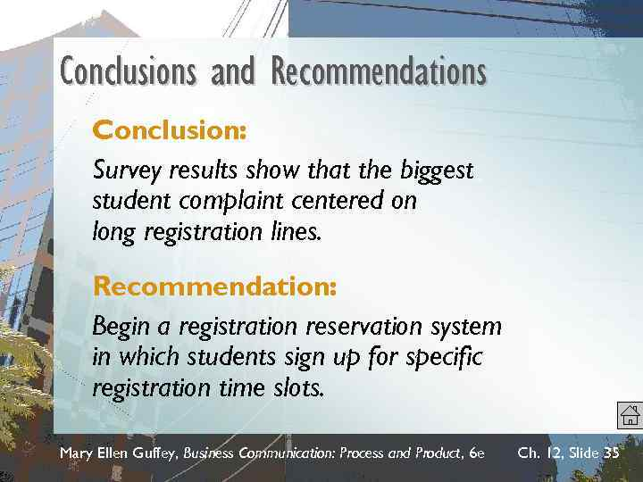 Conclusions and Recommendations Conclusion: Survey results show that the biggest student complaint centered on