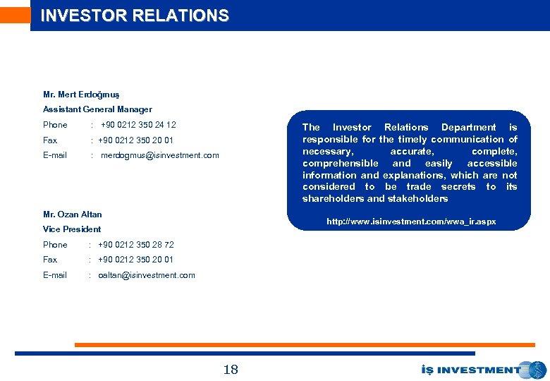 INVESTOR RELATIONS Mr. Mert Erdoğmuş Assistant General Manager Phone : +90 0212 350 24