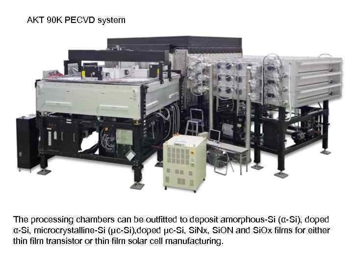 AKT 90 K PECVD system The processing chambers can be outfitted to deposit amorphous-Si