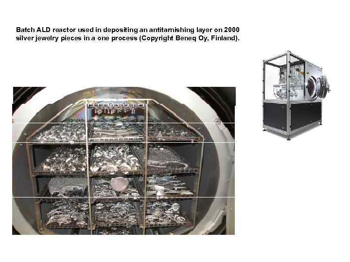 Batch ALD reactor used in depositing an antitarnishing layer on 2000 silver jewelry pieces
